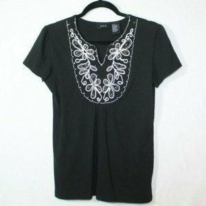 RQT black pleated embroidered studded floral top